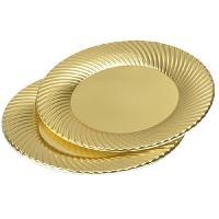 Vaisselle Jetable 6 assiettes rondes - D23 cm - Or