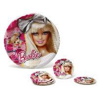 Vaisselle Jetable ATOSA Pack de 5 assiettes en carton - Collection Barbie - Fille - 20.5 cm
