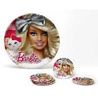 Vaisselle Jetable ATOSA Pack de 5 assiettes en carton - Collection Barbie - Fille - 23 cm