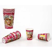 Vaisselle Jetable ATOSA Pack de 5 verres en carton jetable - Collection Barbie - Fille - 180/200 ml