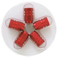Valves et Capuchons 5 bouchons de Valves - Rouges - Hexagonaux - ADNAuto