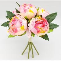 Vase - Coupe - Fleur Bouquet déco de pivoines - H 30 cm - Rose pâle - Aucune