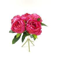 Vase - Coupe - Fleur Bouquet déco de pivoines - H 30 cm - Rose vif - Aucune