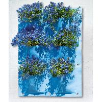 Vase - Coupe - Fleur Mur vegetal en tissu feutre - bleu Provence. H72 x 50 cm