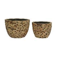 Vase - Coupe - Fleur Set de 2 pots - Revetement en bois - A? 21 x H 16 cm A? 26 x H 19 cm - Marron naturel