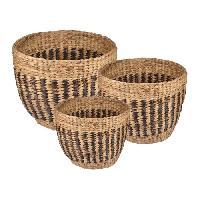 Vase - Coupe - Fleur Set de 3 pots ronds tresses - A? 27 32 38 cm - Marron chocolat