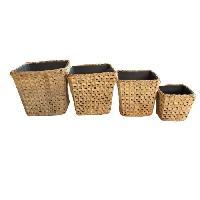 Vase - Coupe - Fleur Set de 4 pots carres - Tressage zigzag - 16 x H 14 20 x H 17 26 x H 24 34 x H 31 cm - Marron naturel