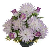 Vase - Coupe - Fleur UNE FLEUR EN SOIE Coupe dahlias et boutons de rose - 36 cm