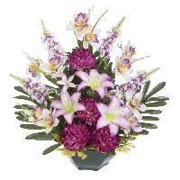Vase - Coupe - Fleur UNE FLEUR EN SOIE Fronton chrysanthemes. lys. orchidées et lilas - 52 cm