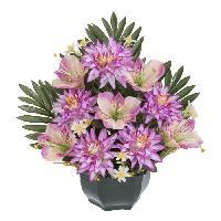 Vase - Coupe - Fleur UNE FLEUR EN SOIE Fronton dahlias. alstromerias - 33 cm