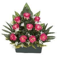 Vase - Coupe - Fleur UNE FLEUR EN SOIE Jardiniere boutons de rose - 37 cm