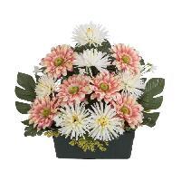 Vase - Coupe - Fleur UNE FLEUR EN SOIE Jardiniere gerberas et tockios - 39 cm