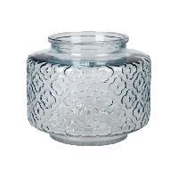 Vase - Coupe - Fleur Vase bas en verre relief - A? 17 x H 14 cm - Bleu ciel