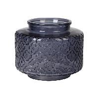 Vase - Coupe - Fleur Vase bas en verre relief - A? 17 x H 14 cm - Gris fonce