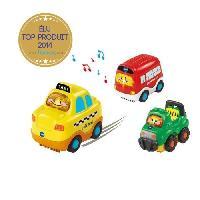 Vehicule Pour Circuit Miniature Tut Tut Bolides - Coffret trio City -Berline + Depanneuse+Ambulance- - Vtech