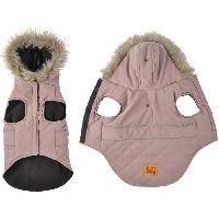 Vetement - Accessoire Doudoune Chuck - Capuche fausse fourrure doublee polaire - 35 cm - Kaki - Pour chien