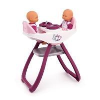 Vetement - Accessoire Poupon SMOBY Baby Nurse Chaise Haute Jumeaux + 4 Accessoires