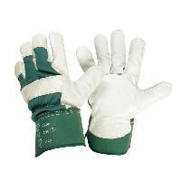 Vetement De Jardinage JARDIN PRATIQUE Gants de travail en cuir - Taille 10 - L - Vert et blanc - Generique