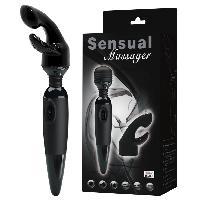 Vibromasseur Sensual Massager + Gaine noirs 25cm