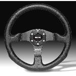 Volant -COMPETITION- Diametre 35cm - Cuir Noir - 6 trous 35mm - Momo