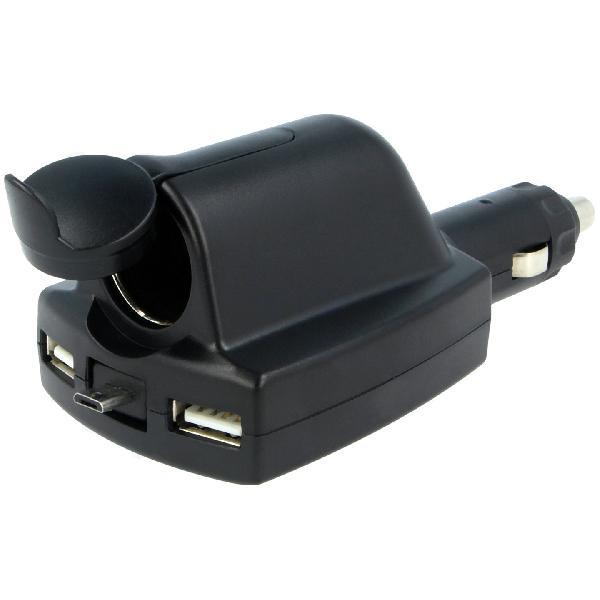 Adaptateur Allume-cigare/2x USB F/Micro USB M - Noir