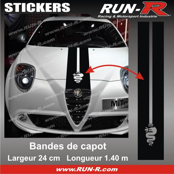 1 sticker bande de capot alfa romeo 140 cm noir adnauto 145794. Black Bedroom Furniture Sets. Home Design Ideas