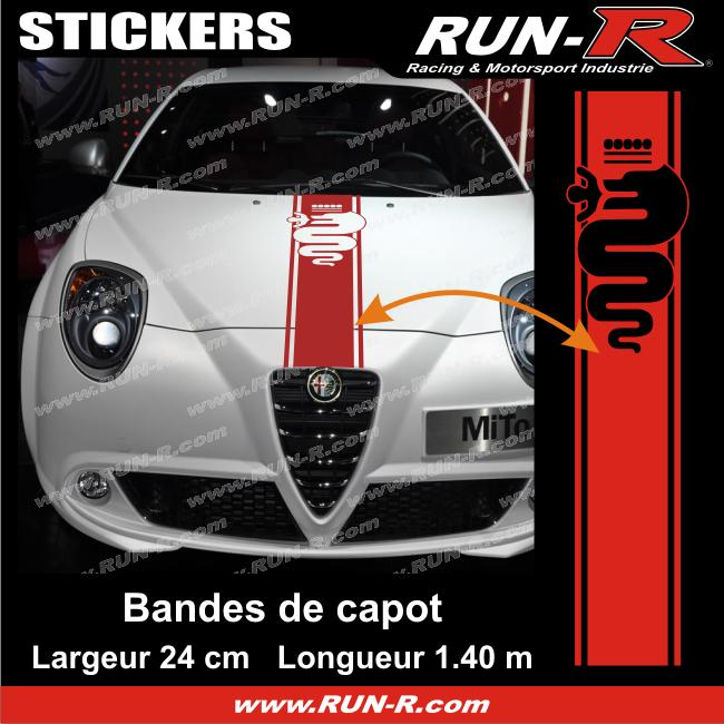 1 sticker bande de capot alfa romeo 140 cm rouge adnauto 148735. Black Bedroom Furniture Sets. Home Design Ideas