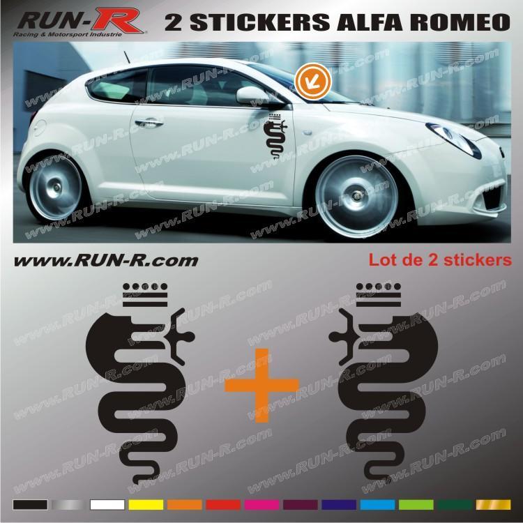 run r stickers 2 stickers alfa romeo 30 cm noir adnauto 84580. Black Bedroom Furniture Sets. Home Design Ideas