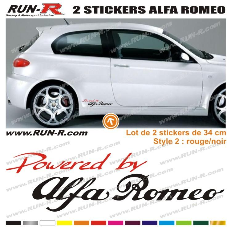 2 Stickers POWERED BY ALFA ROMEO 34 Cm