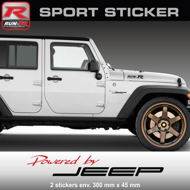 adhesifs jeep run r stickers by powered pw24rn. Black Bedroom Furniture Sets. Home Design Ideas