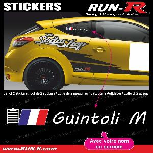 Adhesifs Noms Pilotes Run-R Stickers - 2 stickers NOM COPILOTE drift rallye style CAHIER COPILOTE - Lettrage blanc - ADNAuto