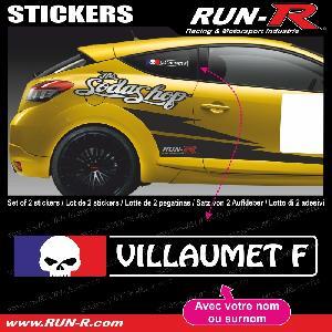 Adhesifs Noms Pilotes Run-R Stickers - 2 stickers NOM PILOTE drift rallye style TETE DE MORT - Lettrage blanc - ADNAuto