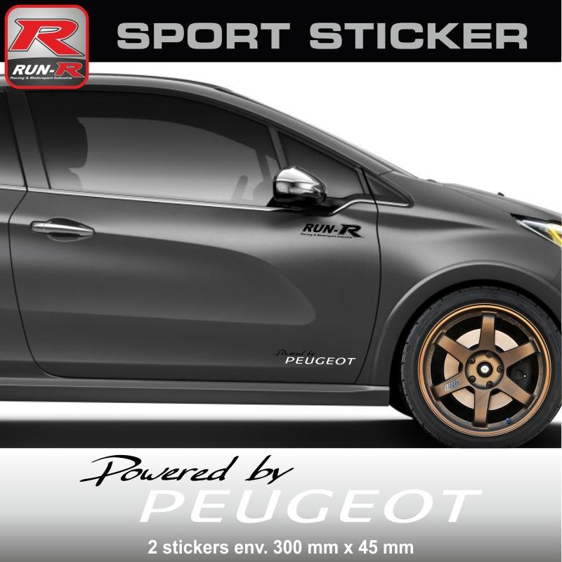 adhesifs peugeot run r stickers by powered pw02nb. Black Bedroom Furniture Sets. Home Design Ideas