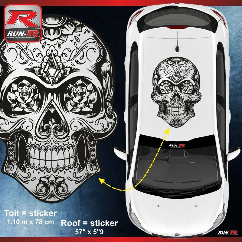 adhesifs peugeot run r stickers calavera noir et bl. Black Bedroom Furniture Sets. Home Design Ideas