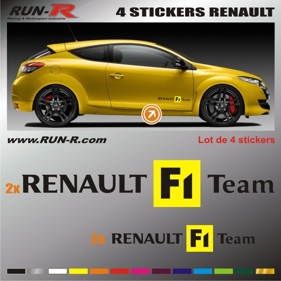 run r stickers 4 stickers renault sport noir jaune adnauto 80015. Black Bedroom Furniture Sets. Home Design Ideas