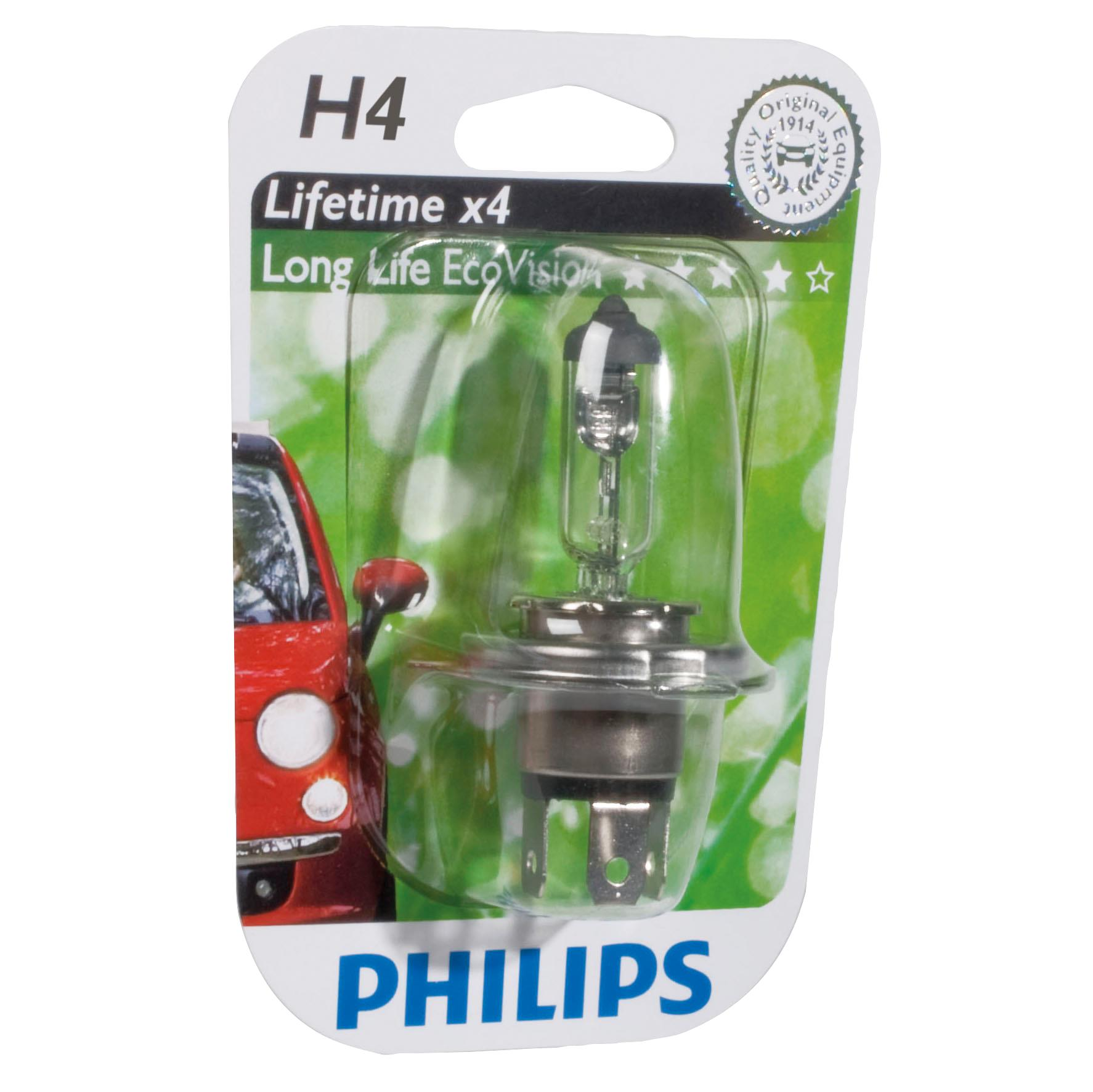 ampoule voiture h4 12v philips 1 ampoule h4 longerl. Black Bedroom Furniture Sets. Home Design Ideas