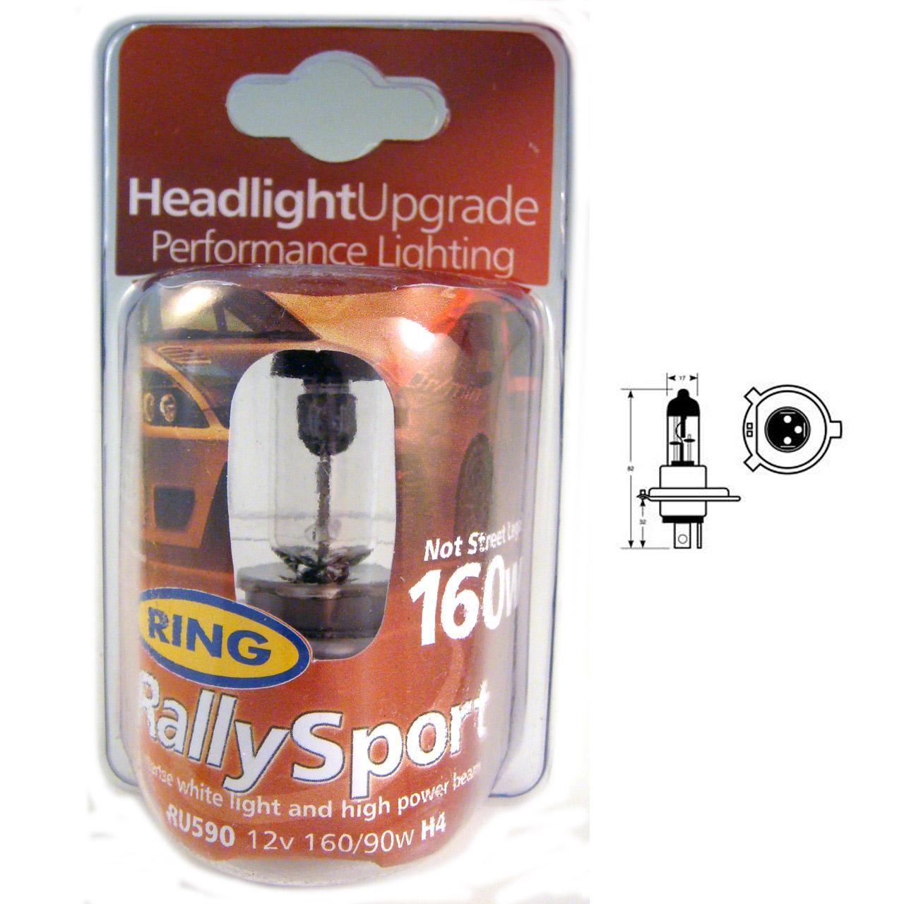 ring 1 ampoule rallysport h4 12v 160 100w p43t 15616. Black Bedroom Furniture Sets. Home Design Ideas
