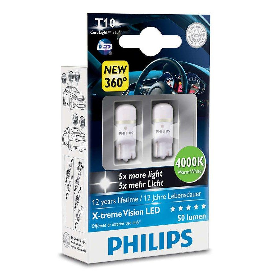 ampoule voiture t10 philips 2 amp w5w led 4000k 228166. Black Bedroom Furniture Sets. Home Design Ideas