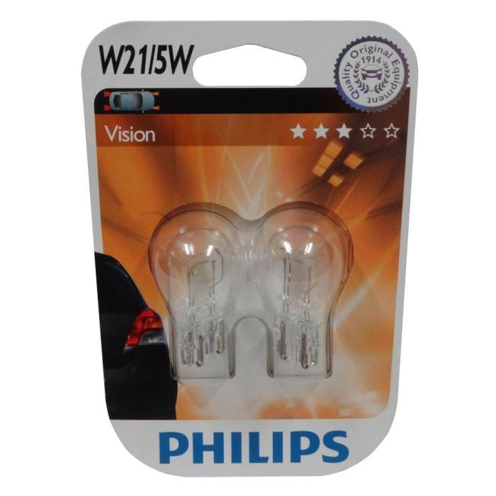 ampoule voiture t20 philips 2 ampoules w21 5w 12. Black Bedroom Furniture Sets. Home Design Ideas