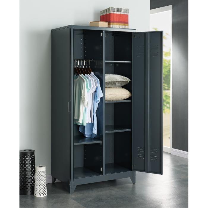 aucune camden armoire vestiaire en m tal 85 cm gris. Black Bedroom Furniture Sets. Home Design Ideas