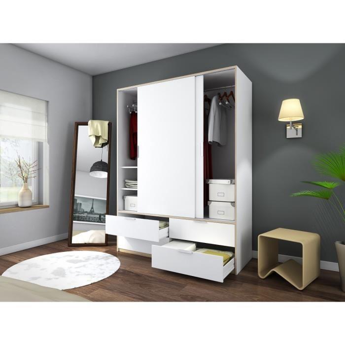 aucune capri armoire de chambre 140 cm blanc mat et. Black Bedroom Furniture Sets. Home Design Ideas