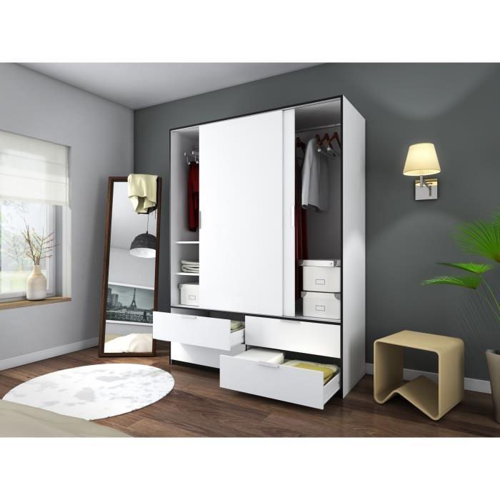 Aucune capri armoire de chambre 140 cm blanc mat et - Armoire coulissante noir ...