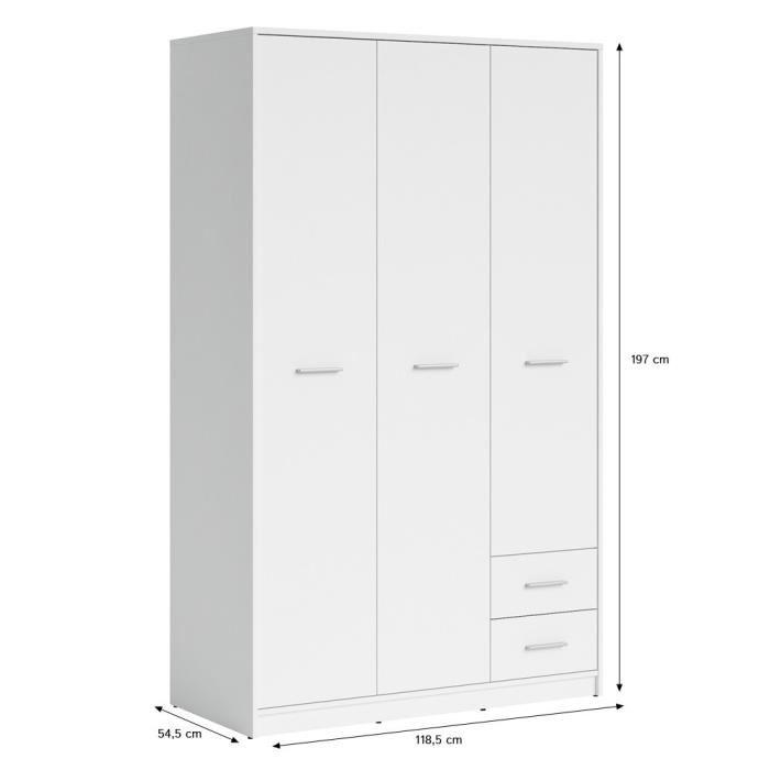 aucune nepo armoire 3portes 2tiroirs largeur 120cm blanc. Black Bedroom Furniture Sets. Home Design Ideas