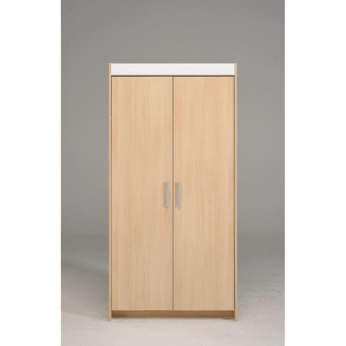 aucune scoop armoire 2p d cor hetre clair et blanc l88 cm 309344. Black Bedroom Furniture Sets. Home Design Ideas
