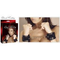 Attaches BDSM Bad Kitty - Attaches Poignets Simili cuir - Chaine de 10cm - Noir