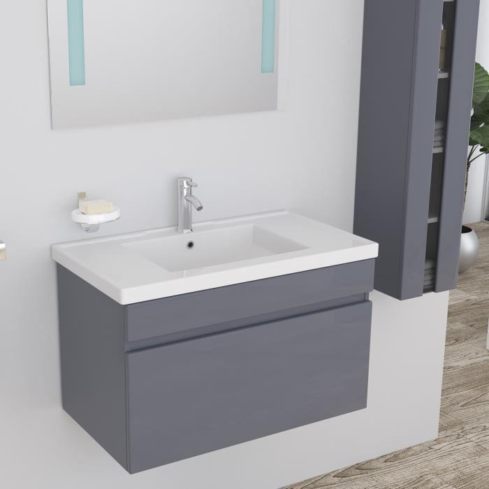 alban salle de bain complete simple vasque 80 cm laqu gris brillant 355332. Black Bedroom Furniture Sets. Home Design Ideas