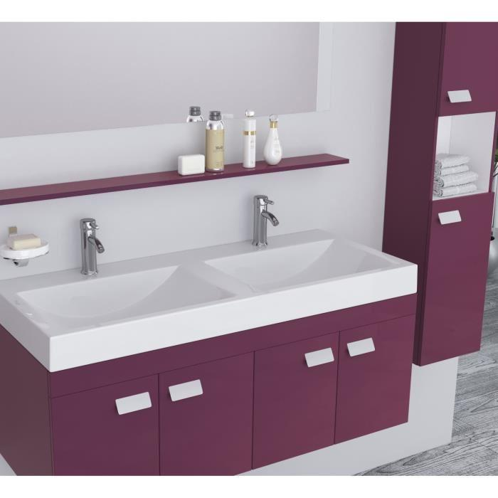 alpos salle de bain complete double vasque 120 cm laqu aubergine brillant 355334. Black Bedroom Furniture Sets. Home Design Ideas