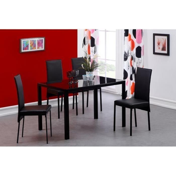 aucune balto ensemble 1 table a manger 4 chaises 120x75cm noir 267481. Black Bedroom Furniture Sets. Home Design Ideas