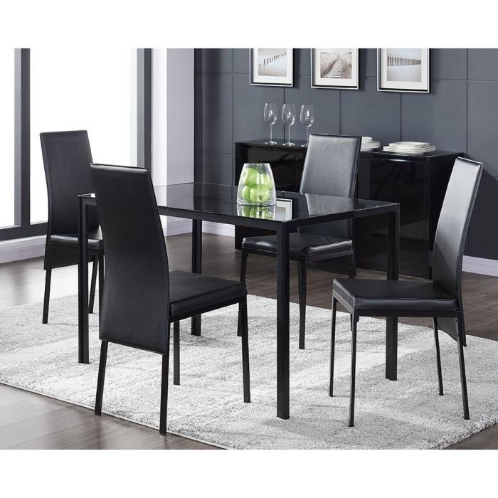 aucune balto ensemble 1 table a manger 4 chaises 120x75cm noir 267481. Black Bedroom Furniture Sets. Home Design Ideas