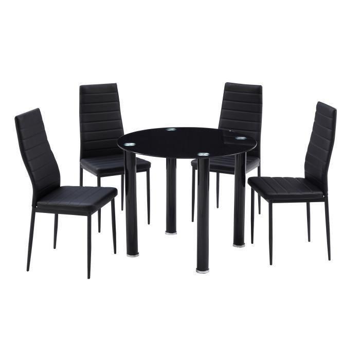 Berenice ensemble repas coloris noir 5 pieces 1 table a for Ensemble table a manger